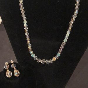 Vintage Crystal necklace and earrings set